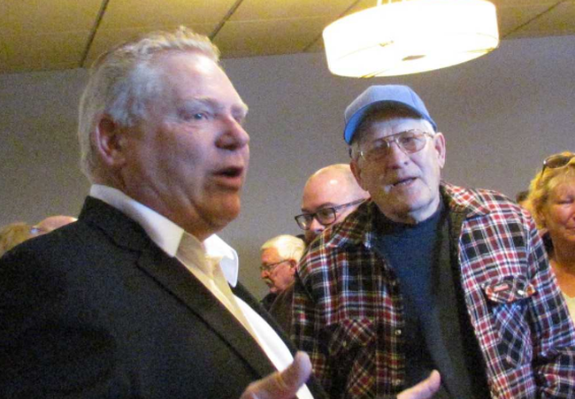 Doug Ford, leadership candidate for the Ontario Progressive Conservative Party, spoke Monday morning to a gathering at John's Restaurant in Sarnia. Fellow candidate Caroline Mulroney visited the area Saturday, with the results of the leadership vote expected by week's end.Paul Morden/Sarnia Observer/Postmedia Network