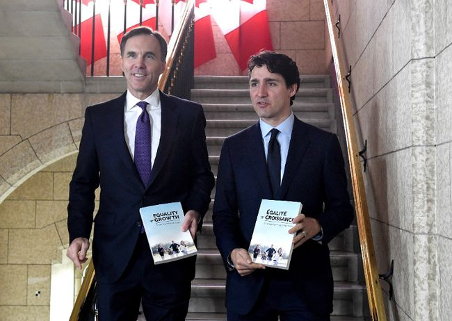Minister of Finance Bill Morneau walks with Prime Minister Justin Trudeau, right, before tabling the budget in the House of Commons on Parliament Hill in Ottawa on Tuesday, Feb. 27, 2018. (THE CANADIAN PRESS)
