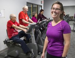 Jane Shackleton is the program director of Healthy Hearts Cardiac Rehabilitation in Goderich. A few of her clients are left to right, George Warner, Ted Vanderwouden Pearl Needham and Linda Brak. (Derek Ruttan/The London Free Press)