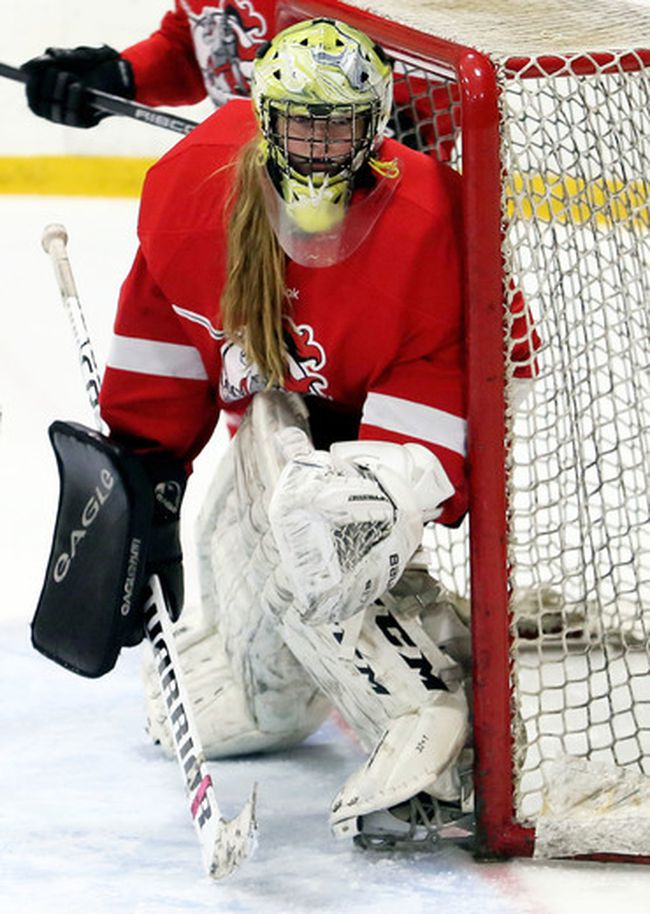 Lambton Central Lancers goalie Riley Blancher plays against the Wallaceburg Tartans during the LKSSAA 'A-AA' girls' hockey final at Wallaceburg Memorial Arena in Wallaceburg, Ont., on Thursday, March 1, 2018. (Mark Malone, Postmedia Network)