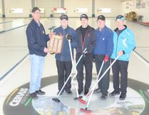 """The """"A"""" Event winners in the Melfort Senior Invitational Bonspiel (L to R) presenter Larry Phillips, skip Delwyn Jansen, third Gerry Morelli, second Murray Stevens and substitute lead Ralph Frank, not pictured is regular lead Murray Philips."""