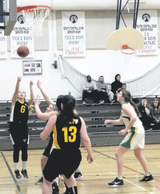 Jalen Payson scores two of her 22 point in leading the Banff Bears to a 49-31 win over the Duchess Eagles in a South Central Alberta 2A zone championship playoff game on Monday at Banff Community High School. Russ Ullyot/ Crag & Canyon