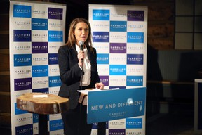 Ontario Progressive Conservative leadership candidate Caroline Mulroney speaks to supporters at a lunch-hour event at the Grizzly Grill in Kingston on Tuesday. (Meghan Balogh/The Whig-Standard)