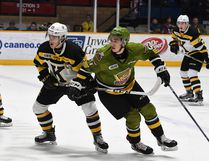Ted Nichol of the Kingston Frontenacs and the North Bay Battalion's Brandon Coe battle for position in the teams' Ontario Hockey League game Sunday at Memorial Gardens. Rookie Coe opened the scoring in the first period, but Kingston prevailed 4-3 via shootout. Sean Ryan photo