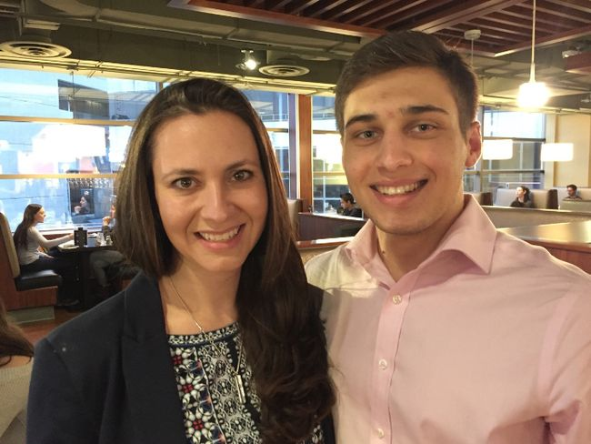 PC leadership hopeful Tanya Granic Allen met Western University Conservative club president Sebastian Skamski and other supporters at The Wave bar on campus Wednesday. (RANDY RICHMOND, The London Free Press)