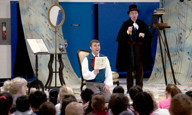 Chris George (left) and Mark Payne perform in the Grand Theatre production of Beethoven Lives Upstairs. The show is currently on a tour of 100 local schools but will return to the Grand's McManus Stage for a special run of performances during next week's March Break. CHRIS MONTANINI\LONDONER