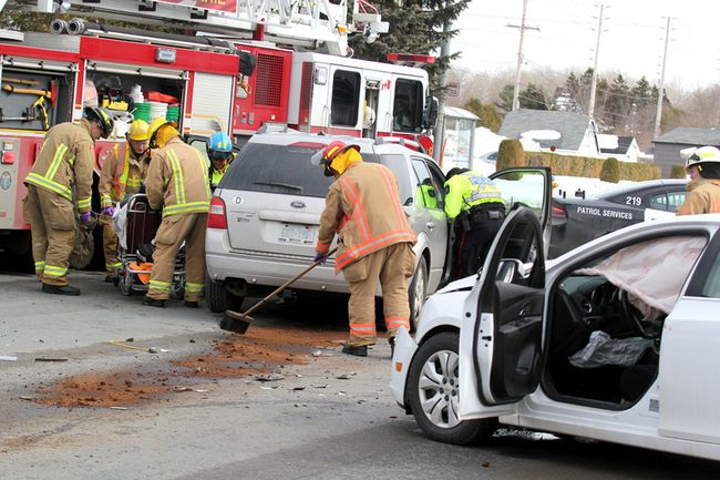 Three people were hurt in a two-vehicle crash at Wellington Street East and Kohler Street early Thursday afternoon. Their injuries were not life threatening, said captain Shawn Amore of Sault Ste. Marie Fire Services.