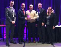 Pictured L-R: Andrew Smith, MLA for Southdale; Chris Goertzen, President of AMM; David Cain, 2018 Crocus Award Recipient; Jeff Elliot, President of RCM; andJennifer Sarna, former President of RCM.