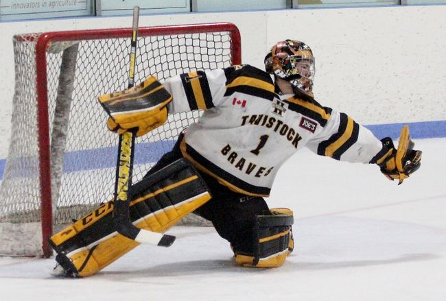 Tavistock Braves goalie Jensen Van Boekel has a 2.33 goals-against average and .930 save percentage in nine playoff games. Cory Smith/The Beacon Herald