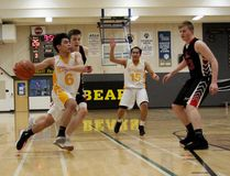 Banff Bears' John Ezekiel Bunao drives to the basket during a South Central Alberta 2A Zone championship play-in game against Sundre on Wednesday, March 7, 2018. Bunao finished the game with 48 points as Banff defeated Sundre 92-52 to advance. Rus Ullyot/ Bow Valley Crag & Canyon/ Postmedia Network