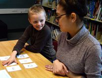 Joseph Robinson, left, matches sounds and letters with ease during a game of Simon Says at Forest Park Public School in St. Thomas. The game is part of a ten-week program called Strong Start, being piloted this spring at the Thames Valley District School Board. (Louis Pin // Times-Journal)