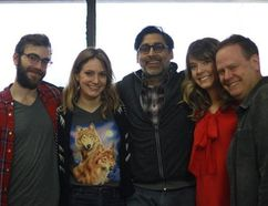 Supplied Photo Director of photography and editor Gordon Middleton, Trish Rainone, Anand Rajaram, Katie Uhlmann and producer David Carruthers work on Canadian Actors.