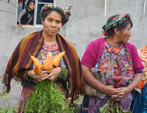 A couple of women in Toj Alic show off some of the produce they were able to grow through the Friends of Guatemala's food security project in the community. A new food security project is beginning in another Guatemalan community, with funds from The Great Plains concert going towards that project. (Photo supplied)