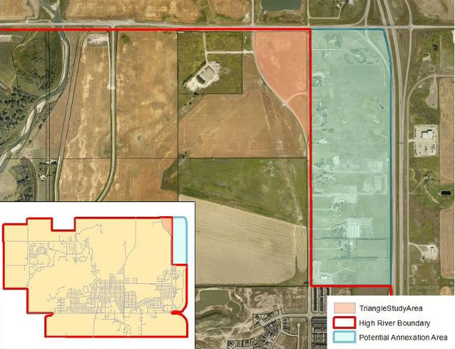 PHOTO COURTESY OF TOWN OF HIGH RIVER. The Feb. 26 council agenda featured a map of the potential annexation area.