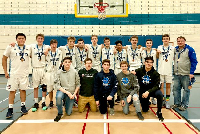 Timmins High & Vocational School Blues captured the bronze medal at the 2018 OFSAA Boys 'A' Basketball Championships in Cornwall. Members of the bronze medal-winning team include, front row, from left: Logan Faucher, Tyler Marcotte, Ryan Dailey, Conrad Bierman and Clinton Patrick. Back row, from left: Brayden Inishinapay, Jeremy Duguay, Cameron Racine, Jack Hagerty, Kevin Leblond, Christopher Lachapelle, Jay Chenier, Braeden Chalwell, Ethan Miron, Tyler Roy, Owen Hagerty and coach Peter Graham.  SUBMITTED PHOTO