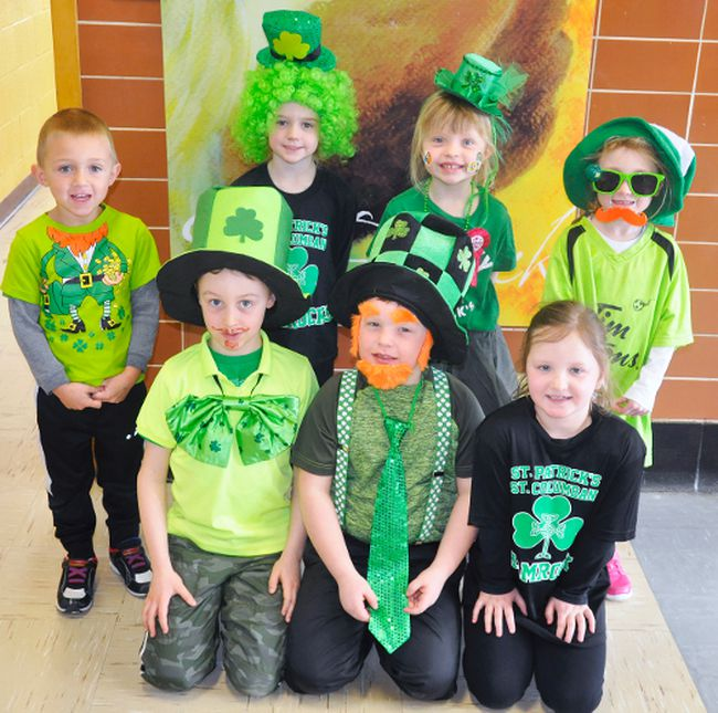 Of course, students at St. Patrick's school in Dublin need to celebrate St. Patrick's Day! And these JK-Grade 2 students did just that a little early last Friday before March Break began. Dressed in green for the occasion were Joe Nolan (back row, left), Josie Ruston, Sadie Beaudin and Elena Schoonderwoerd, and Luke Krempien (front row, left), Deni Beaudin and Charlee Weesjes. ANDY BADER/MITCHELL ADVOCATE