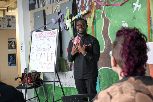 Ian Keteku expressed himself all week as he looked to inspire SWAC students to do the same. (Chris Funston/ Sentinel-Review)