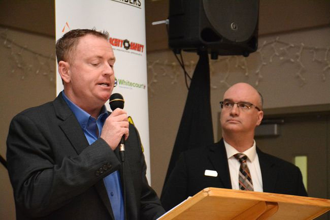 Woodlands County Mayor Jim Rennie (left) and Whitecourt deputy mayor Paul Chauvet give their economic forecasts for 2017 during the Economic Forum on March 8 (Peter Shokeir | Whitecourt Star).