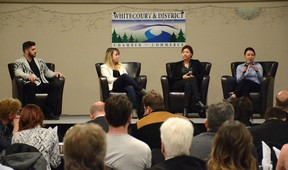 Panelists from Compass Cannabis answer questions on the upcoming cannabis clinic in Whitecourt during the Economic Forum on March 8 (Peter Shokeir | Whitecourt Star).