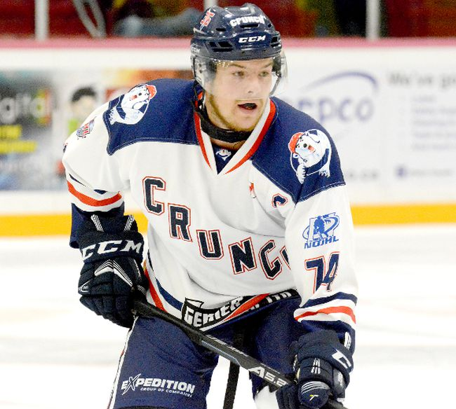 Cochrane Crunch captain Connor Lovie, shown here in action during an NOJHL game against the Timmins Rock at the McIntyre Arena on Sept. 19, has been named the NOJHL's most valuable player and top defenceman. In addition, the London, Ont., native, who is completing his fourth year on the Crunch blue-line, has been named to the NOJHL's First All-Star Team. Lovie and his teammates are preparing to meet the Kirkland Lake Gold Miners in one of the NOJHL East Division semifinal series.  THOMAS PERRY/THE DAILY PRESS