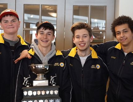 From left to right Jack Middleton, Sam Hastings, Eric Ruegg and Adam Mekky make up the Saugeen District Royals curling rink headed to OFSAA in Fort Frances on March 20. They're pictured here after winning the 2018 Gore Provincial Championship earlier this year. The team, coached by Allan Walker, is raising money to fund their trip to the high school provincial tournament. Photo submitted by Allan Walker.