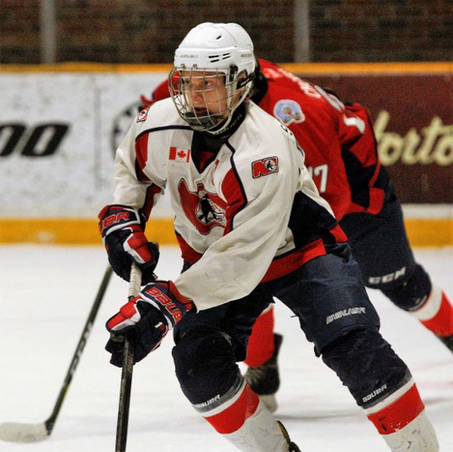 Pacey Schlueting, captain of the North Bay Fern's Heating Minor Midget AAA Trappers, is one eight teammates on Team NOHA at the OHL Cup in Toronto this week. Dave Dale / The Nugget File Photo