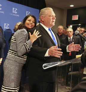 Doug Ford is hugged by his wife Karla after he was elected as the new leader of the PC Party of Ontario at the Ontario PC leadership convention on March 11. Jack Boland/Postmedia Network