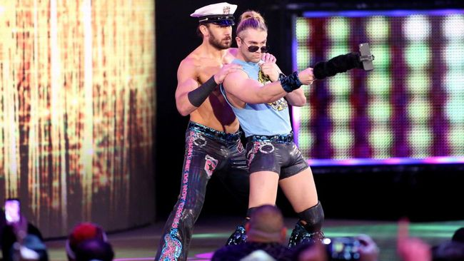 Fandango and Canadian Tyler Breeze, better known as Breezango, in WWE action recently. (World Wrestling Entertainment photo)