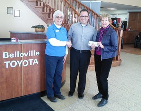Submitted photo The Garden Tour received a $1000 sponsorship cheque for the 2018 Garden Tour from Belleville Toyota. This is the largest single sponsorship donation of all time to the Garden Tour. Thank you to Barbara Durnford of the sponsorship committee for making this happen. The tour this year is on Saturday, July 7th. It is the main fundraiser for our scholarship program. President Laura Hare and Barbara Durnford are pictured receiving the donation from Andy Caletti, owner and general manager of Belleville Toyota.