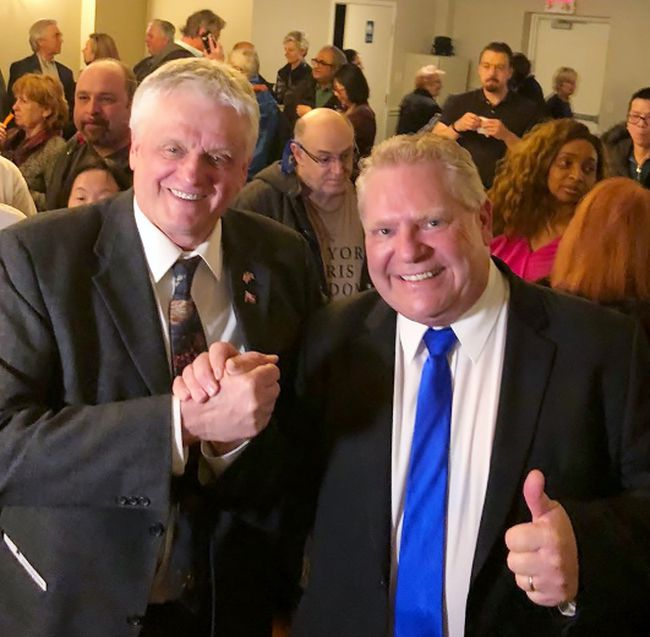 Local MPP Toby Barrett, left, wishes Ontario Progressive Conservative leader Doug Ford well this weekend in Toronto. Provincial party members in Haldimand-Norfolk voted overwhelmingly in favour of Ford last week. CONTRIBUTED PHOTO