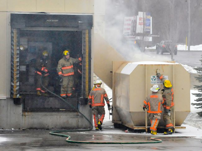 Canadian Tire in Simcoe was evacuated Wednesday morning after smoke from a waste compactor fire infiltrated the store. MONTE SONNENBERG / SIMCOE REFORMER