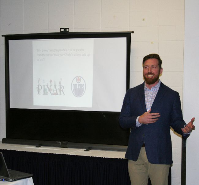 Justin Hicks at the Fairview and District Chamber of Commerce general meeting March 7, speaking on how employers and employees can make the workplace a better place to be.