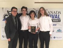 "The St. Anne's Catholic Seconday School Jazz Combo ""Jazz Cubed"" with their award for Gold Standing at Music Fest Canada Regionals. L-R: Music teacher Josh Geddis, Ben Luelo on alto sax, Joshua LeBlanc-Demers on percussion, and Karsten Stryker on guitar. (PHOTO CONTRIBUTED BY JOSH GEDDIS)"