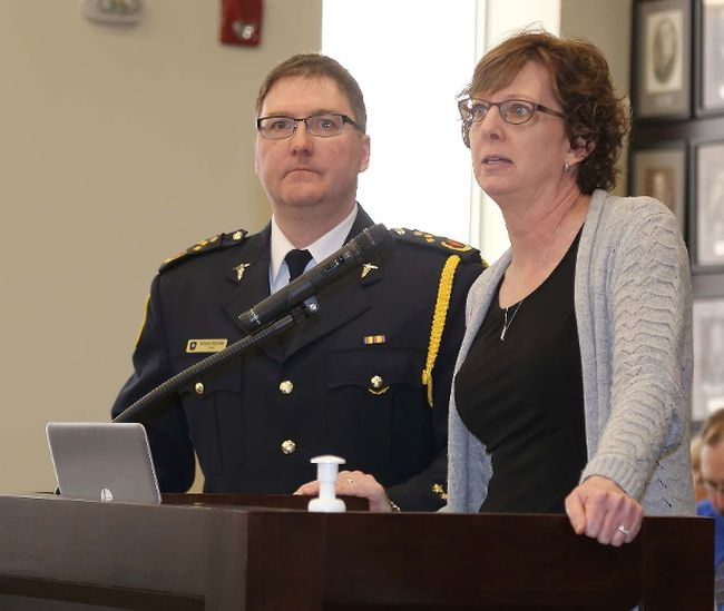 TIM MEEKS/THE INTELLIGENCER Director of EMS Doug Socha looks on as Hastings County Director of Finance Sue Horwood discusses an item in the 2018 Emergency Services budget Wednesday.