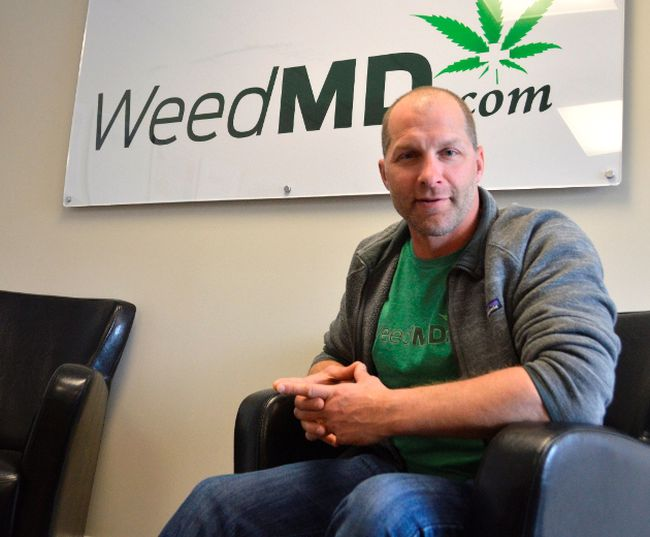 Keith Merker, chief financial officer for WeedMD, sits in the company's Aylmer office. Last year WeedMD expanded to a facility just south of Strathroy where they could soon produce cannabis-infused drinks. (Louis Pin/Times-Journal)