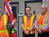 Steven Del Duca, Ontario minister of economic development and growth, announces grants for five businesses in Chatham-Kent under the Southwestern Ontario Development Fund at Dana Canada's Chatham facility on Thursday. Also shown are plant manager Michael Faber and Chatham-Kent-Essex MPP Rick Nicholls. Tom Morrison/Chatham This Week