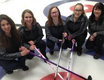 PHOTO SUBMITTED Four members of the Grande Prairie Curling Club pose for a picture prior to the U18 Alberta Provincials. (Left to right) Lead-Brynn Lutz, Second-Lori Thorson, Third- Delaney Norrish and Skip-Micyla Radke with coach Carla Radke. The foursome will represent Team Alberta North at the South Slave 2018 Arctic Winter Games.