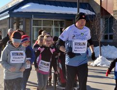 Before heading out to Calgary for the Secret Marathon 3k on Mar. 7, which drew 240 people wanting to support educational programs for girls in Afghanistan, Martin Parnell led 13 École Notre-Dame des Vallées students and some of their parents on their own 3k around West Terrace.