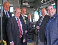 TIM MEEKS/THE INTELLIGENCER Bay of Quinte area transit systems received a huge boost from the federal and provincial governments Friday, with nearly $16.6 million in infrastructure funding announced. Celebrating the windfall were, from the left: Quinte West Deputy Mayor Jim Alyea, Prince Edward County Mayor Robert Quaiff, Belleville Mayor Taso Christopher, Bay of Quinte MP Neil Ellis, Belleville Manager of Transit Operations Paul Buck and Belleville Coun. Garnet Thompson.