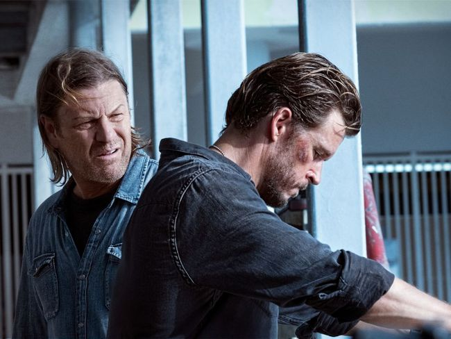 """This image released by Crackle shows Sean Bean, left, and Ryan Kwanten in a scene from the Crackle original series, """"The Oath."""" (Steve Dietl/Crackle via AP)"""