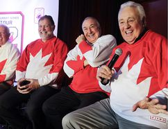 Team Canada 1972 alumni (from left) Yvan Cournoyer, Pete Mahovlich, Guy Lapointe and Phil Esposito share a laugh during an interview in Montreal in 2016. (John Kenney/Postmedia Network)