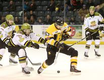 Kingston Frontenac forward Cliff Pu breaks through the North Bay Battalion defence during the second period of Friday night's Ontario Hockey League game at the Rogers K-Rock Centre in Kingston. (Elliot Ferguson/The Whig-Standard)