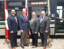 Keith Dempsey/For The Sudbury Star Sudbury MPP Glenn Thibeault, Sudbury MP Paul Lefebvre, Nickel Belt MP Marc Serre and Mayor Brian Bigger announced a provincial, federal, and city funding – combined $99-million — over the next ten years, during a press conference at the Greater Sudbury Transit and Fleet Centre on Friday.