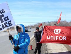 Members of Mine Mill Local 598/Unifor and supporters hold a rally near the Elizabeth Centre in Val Caron on Friday. The demonstration was held to draw attention to the need for minimum care standards for residents in long-term care facilities. John Lappa/Sudbury Star/Postmedia Network