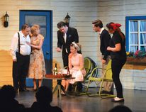 Photo by KEVIN McSHEFFREY/THE STANDARD Ron Bird, Catherina Warren, Ryan Geick, Wendylynn Levoskin, Jarrett Mills and Leah Frost were the actors in Sault Theatre Workshop's production of Norm Foster's 'Hilda's Yard' at the QUONTA Drama Festival in Elliot Lake on Friday.