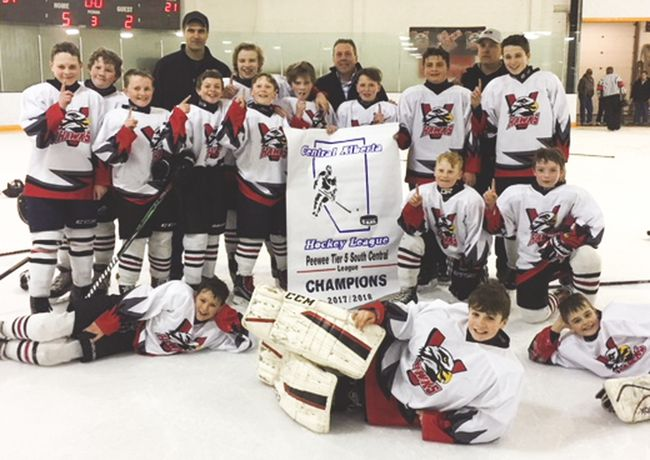 The Vulcan peewee Hawks pose for a photo after winning the Central Alberta Hockey League's Tier 5 South banner. Submitted photo