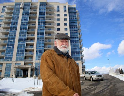 Barrett Court resident Jim Armstrong near an area outside his apartment building on Tuesday February 6 2018 where a proposed Kingston Transit bus stop will be added in 2020 or 2021. Ian MacAlpine/Kingston Whig-Standard/Postmedia Network