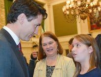 Sarah Calderwood photo Toronto cancer survivor Helena Kirk, then 11, uses a planned March 20, 2017 photo shoot with Prime Minister Justin Trudeau in Ottawa to tell him of the need for more funding for childhood cancer research and access to clinical trials for young patients. With them was then-Health Minister Jane Philpott. Local families now affiliated with her Helena's Hope campaign met recently with Bay of Quinte MP Neil Ellis to make similar pleas.
