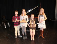 (L. to R.) Harris Kellington and Keely Hadwen (representing MUCC Grade 7 Band) Hannah Linnell (Sefton Memorial Competition) and Heidi Klettberg (best overall vocal performance) were among award winners at the Melfort Music festival.