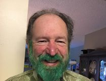 Editor Chris Eakin with his bright green St. Patrick's Day beard